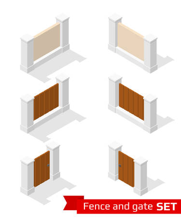 constructor: Isometric fence and gate constructor. Concrete parts with wooden planking isolated on white. Vector illustration