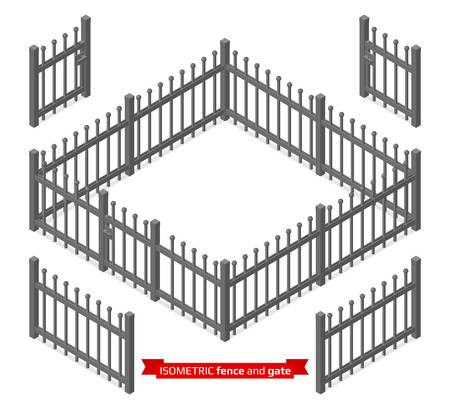 railings: Isometric metal fence and gate constructor. Metallic lattice isolated on white. Vector illustration