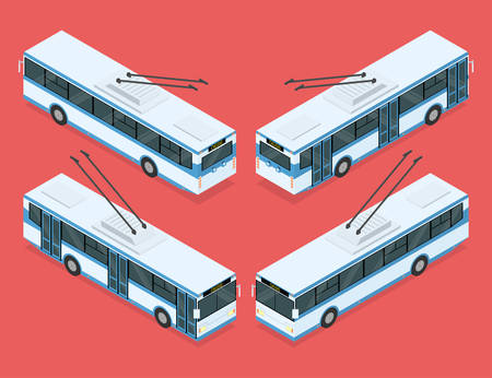 omnibus: City trolleybus. Public transport. Four views. Isometric vector illustration