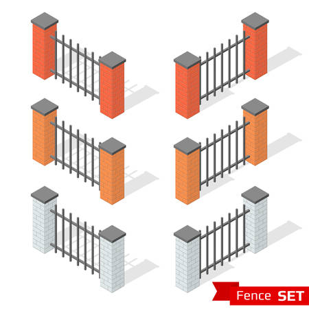 fence park: Set of three different color fence sections of bricks and metal. Brick column and metallic profile with shadows. Park and outdoor decoration elements. Isometric vector illustration Illustration