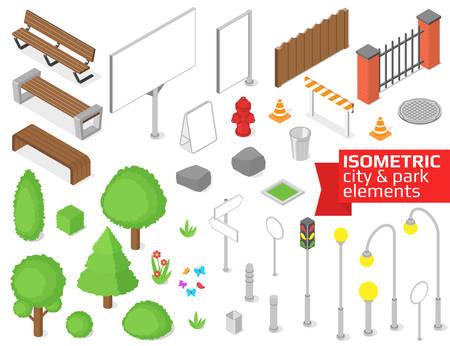 Isometric city and park elements set. Vector illustration Illustration