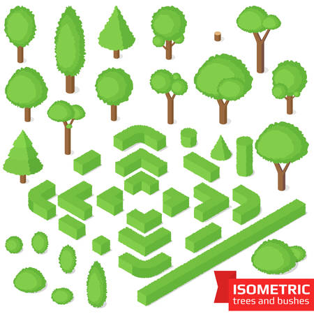 Isometric trees, hedge and bushes set. City, park and outdoor plants. Vector illustration Illustration