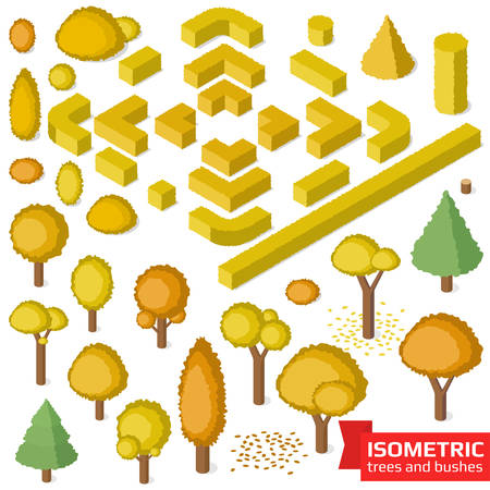 fallen: Isometric autumn trees, hedge and bushes set. City, park and outdoor plants. Vector illustration