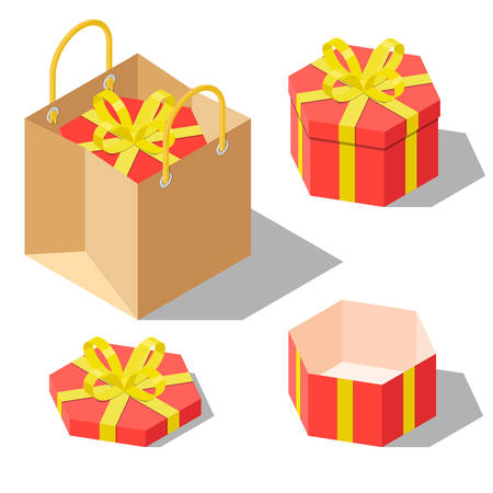 Opened and closed present and gift hexagonal shaped boxes with ribbon bow isolated on white background. Gift in paper bag. Isometric vector illustration