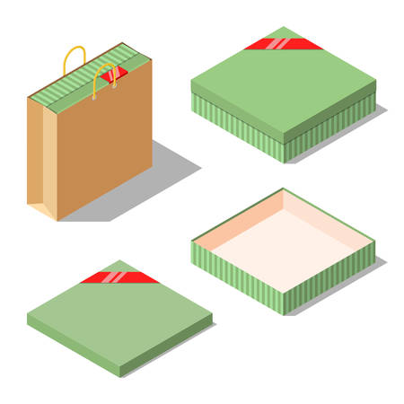 opened bag: Opened and closed present and gift boxes with red ribbon isolated on white background. Gift in paper bag. Isometric vector illustration
