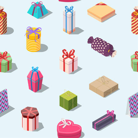 Seamless pattern with colored gift boxes. Isometric present box background. Texture for print. Editable vector illustration Illustration