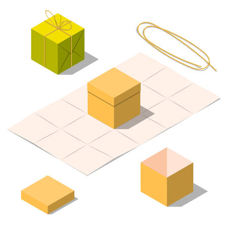 opened bag: Opened and closed present and gift boxes with rope bow isolated on white background. Gift in paper bag. Unwrapped present box. Isometric vector illustration