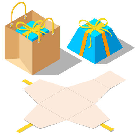 opened bag: Opened and closed present and gift pyramid shaped boxes with ribbon bow isolated on white background. Gift in paper bag. Unwrapped present box. Isometric vector illustration Illustration