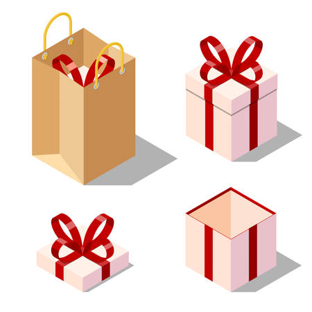 opened bag: Opened and closed present and gift boxes with red ribbon bow. Isolated on white background. paper bag. Isometric vector illustration