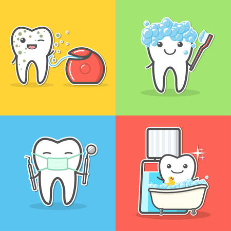 probe: Set of cartoon teeth care and hygiene concepts. Floss, toothbrush, mouthwash, mirror, probe. Treatment, and hygiene. Healthy happy teeth vector illustration