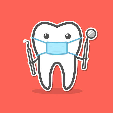 probe: Cartoon doctor tooth in mask with dental probe and mirror. Dental diagnostic and treatment concept. Vector illustration