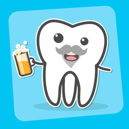 Drunk insane tooth with beer. Wisdom tooth can causes pain concept. Toothache. Dental vector illustration Stock Photo