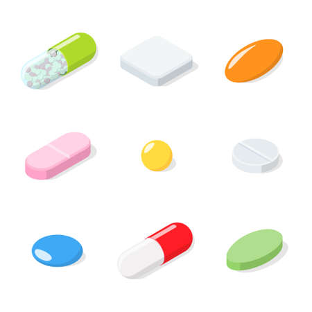 Set of different medical pills, tablets, capsules. Pills isolated on white background. Isometric vector illustration Stock Photo