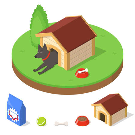 kennel: Dog in dog house. Kennel and other dogs objects stuff. Isometric vector illustration Stock Photo