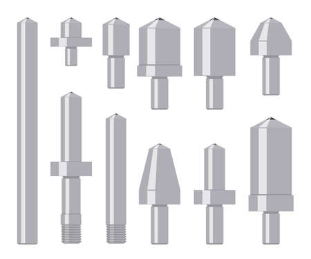 vickers: Set of diamond indenters isolated on white. Tools for material hardness testing. Vector illustration