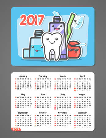 horizontal orientation: Dental pocket calendar 2017. Funny cartoon teeth and oral hygiene concept. Toothcare. Week starts Sunday. Horizontal orientation. Vector Illustration