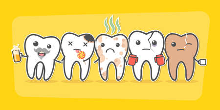 Bad teeth company. Problematic sick and unhealthy teeth concept. Funny cartoon characters. Vector illustration