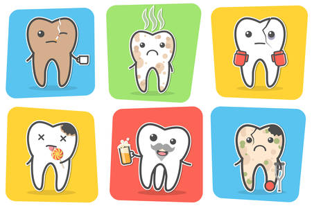 bad breath: Set of sick problematic and unhealthy teeth. Funny cartoon characters. Vector illustration