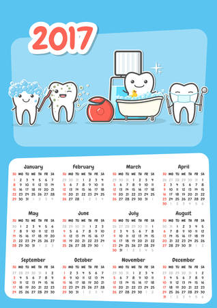 Wall dental calendar 2017. New year stomatology planner. Funny cartoon teeth and oral hygiene concept. Toothcare. Week starts Sunday. Horizontal orientation. Vector Illustration