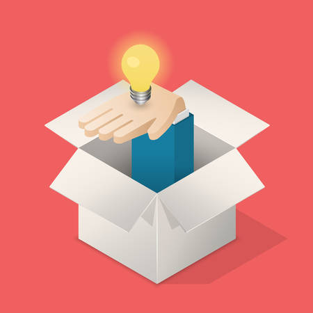 suggest: Suggest an idea business concept. Isometric vector illustration. Illustration