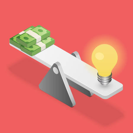 weigher: Idea and money stack balanced on scales. Idea is money. Business concept. Isometric vector illustration