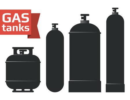 Verschiedene Gasbehälter sihlouette Ikonen eingestellt.