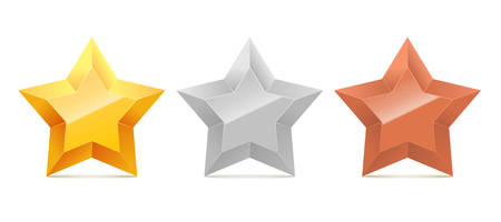 Set of 3D gold, silver and bronze stars.
