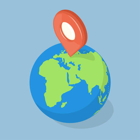 geolocation: GPS pointer on planet earth. Navigation concept. Illustration