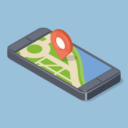 Red pointer on GPS navigatior gadget.