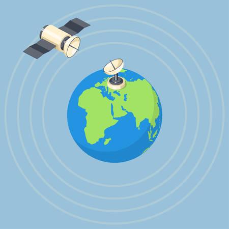 tv tower: Orbit and dish satellite on earth planet. Illustration