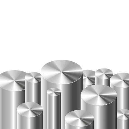 3D metal cylinders on white background. Vector illustration Illustration