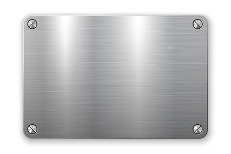 3D rectangle metal plate with screws isolated on white background. Vector illustration Stock Illustratie