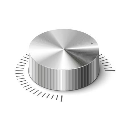 volume knob: 3D metallic volume regulator. Isometric vector illustration.