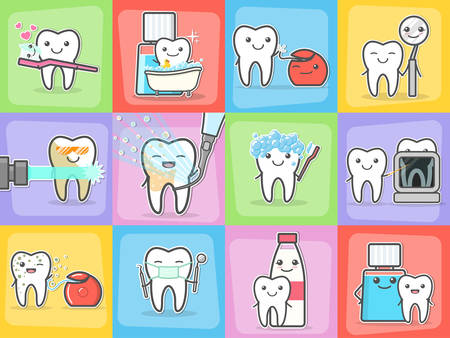 Teeth care treatment and hygiene concepts set.