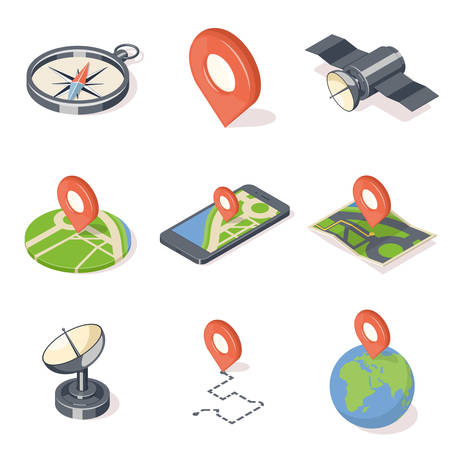 geolocation: GPS navigation icons set. Illustration