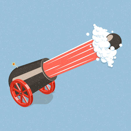Shooting cannon. Illustration