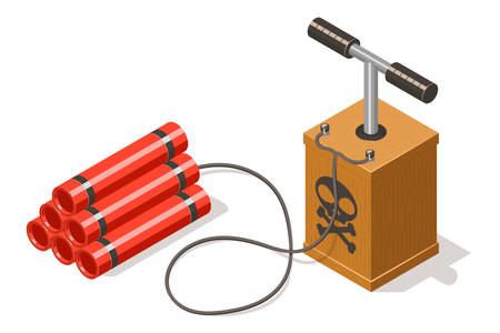 fire wire: Dynamite bomb and detonator isolated on white