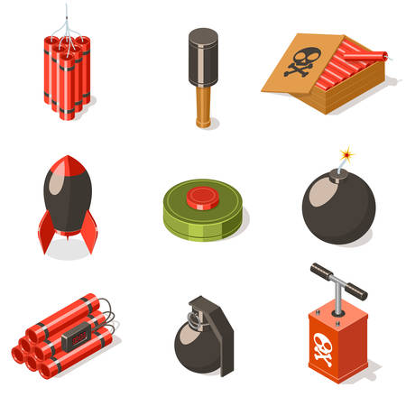 Set of explosive weapon icons.