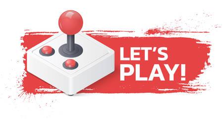 Joystick gamepad on grunge background. Lets play banner. Illustration
