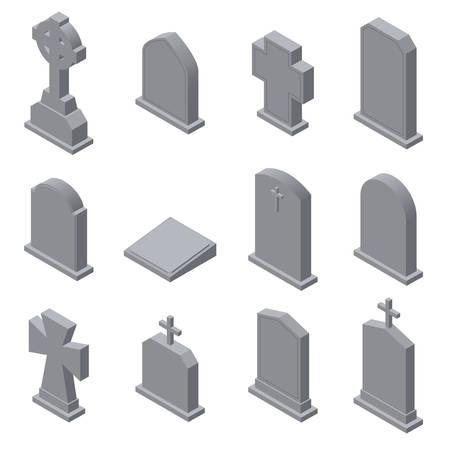 Conjunto de lápidas aisladas sobre fondo blanco. Ilustración vectorial isométrica