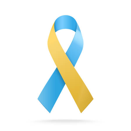 World Down Syndrome Day. 3D Blue and yellow ribbon symbol isolated on white background. Vector illustration
