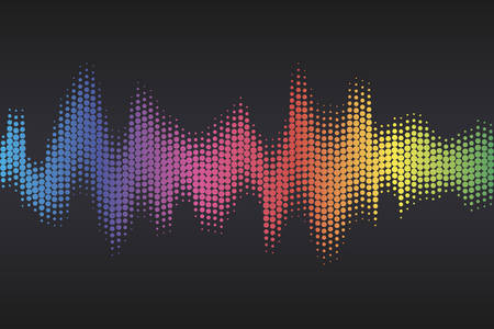 Digital sound equalizer with colored rainbow dots on dark background. Vector illustration. Illustration