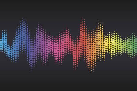 Digital sound equalizer with colored rainbow dots on dark background. Vector illustration. Illustration