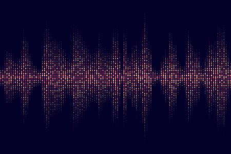 무지개 색깔의 도트가있는 디지털 사운드 이퀄라이저. 벡터 일러스트 레이 션.