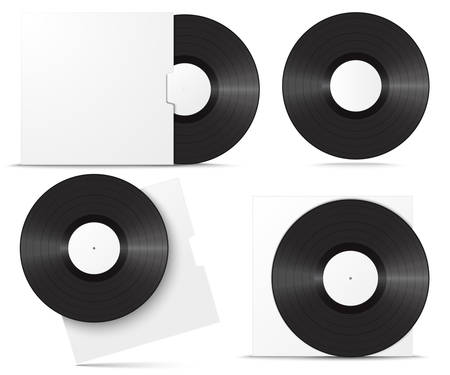 Realistic vinyl record in sleeve. Blank mock up set isolated on white background. Vector illustration