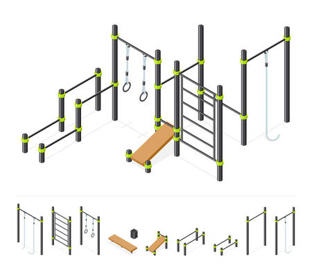 Street workout area. Outdoor athletic gym equipment set isolated on white. Sport park constructor. Isometric vector Illustration