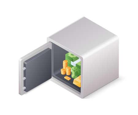 Opened safe box full of wealth isolated on white background. Isometric vector illustration
