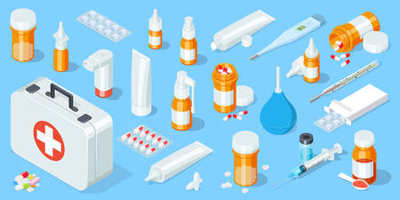 Big set of medical equipment and pharmacy. First Aid Kit. Isometric vector illustration. Ilustração