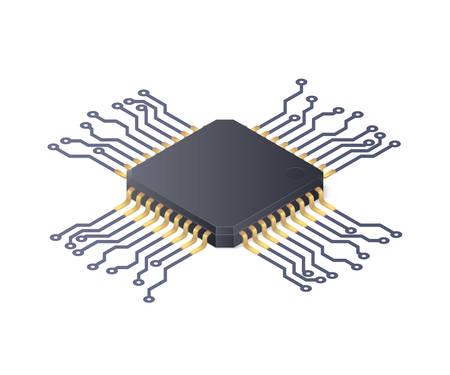 マイクロプロセッサ。白い背景に絶縁された回路基板。アイソメベクトル図