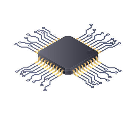 Micro processor. Circuit board isolated on white background. Isometric vector illustration Illustration